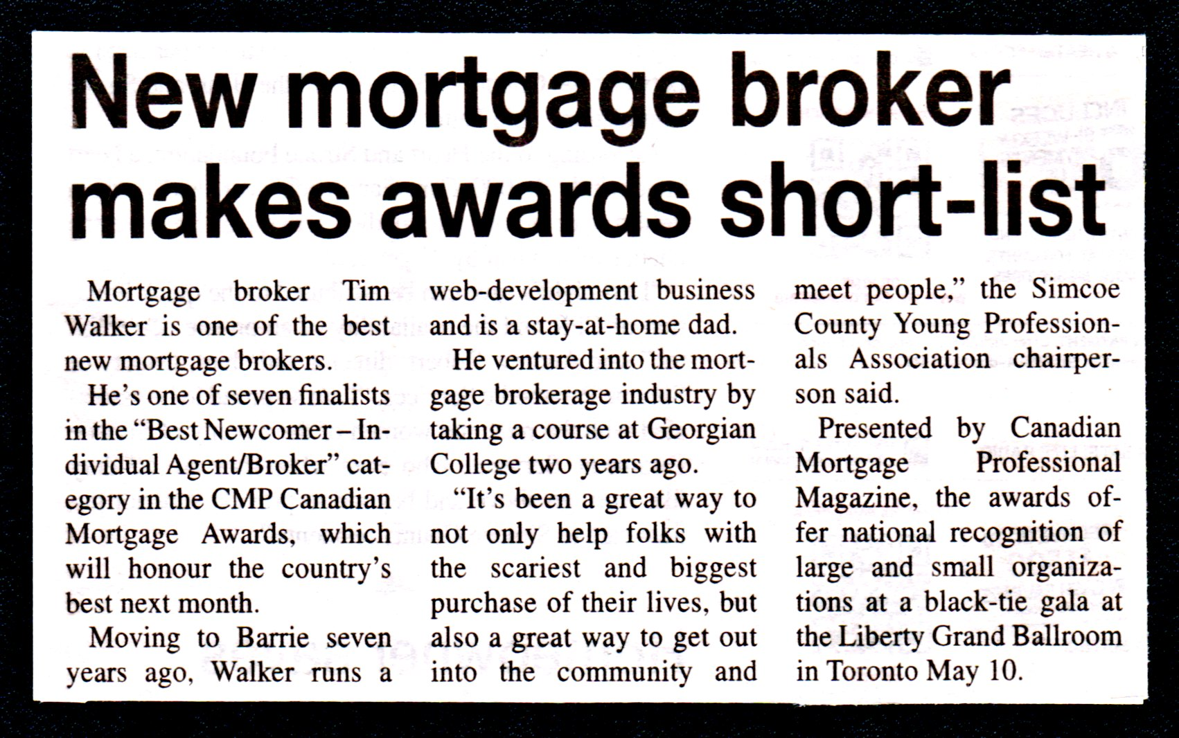 New Mortgage Broker Makes Awards Short-List